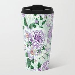 Vintage pastel green lavender watercolor floral roses Travel Mug