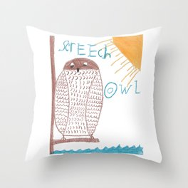 owl screech Throw Pillow