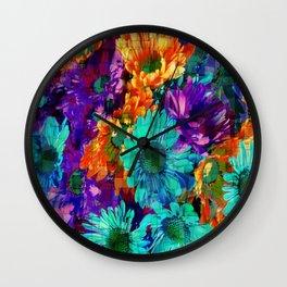 Colored Daisies Wall Clock