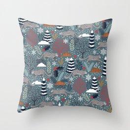 Maximum Snow Leopard Winter Throw Pillow