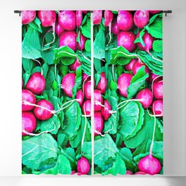 Red radishes and green leaves Blackout Curtain