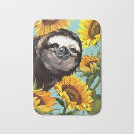Sloth with Sunflowers Bath Mat