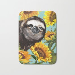 Sloth with Sunflowers Bath Mat