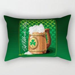 Wooden beer mug with foam and clover Rectangular Pillow
