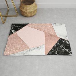 Modern rose gold glitter black white marble geometric color block Rug