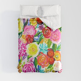Bright Colorful Floral painting Comforters
