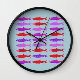 Colorful fish school pattern Wall Clock