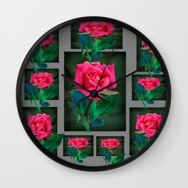 PINK ROSES VIGNETTE PATTERN ART Wall Clock