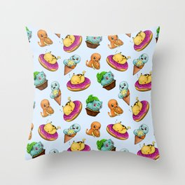 PokeSweets Pattern Blue Throw Pillow