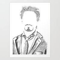 tony stark Art Prints featuring Tony Stark by  Steve Wade ( Swade)