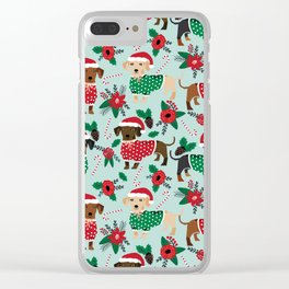 Dachshund christmas sweater florals poinsettia holiday red and white santa hat for dog lover Clear iPhone Case