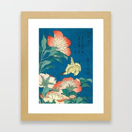 Katsushika Hokusai Peonies and Canary 1834 Framed Art Print