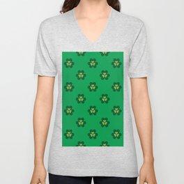 Saint Patrick Shamrock Clove Green Seamless Pattern Unisex V-Neck
