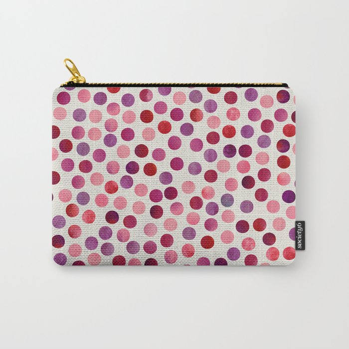 Watercolor Dots_Berry by zJacqueline and Garima Carry-All Pouch