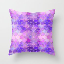 Ultra Violet & Gold Mermaid Scale Pattern Throw Pillow