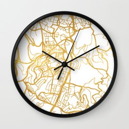 JERUSALEM ISRAEL PALESTINE CITY STREET MAP ART Wall Clock