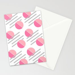 Modern Pink Circle Line Abstract Stationery Cards