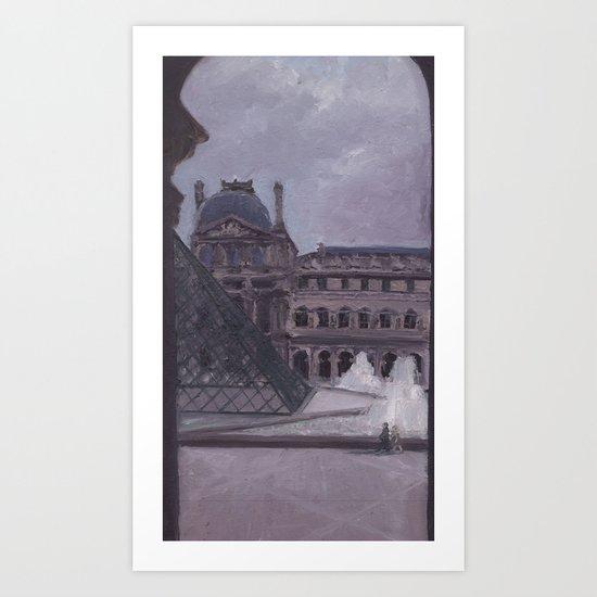A Peek Out the Louvre Art Print
