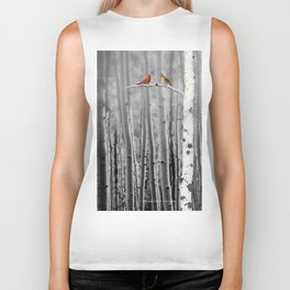 Red Cardinals in Birch Forest A128 Biker Tank