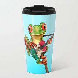 Tree Frog Playing Acoustic Guitar with Flag of Mexico Travel Mug