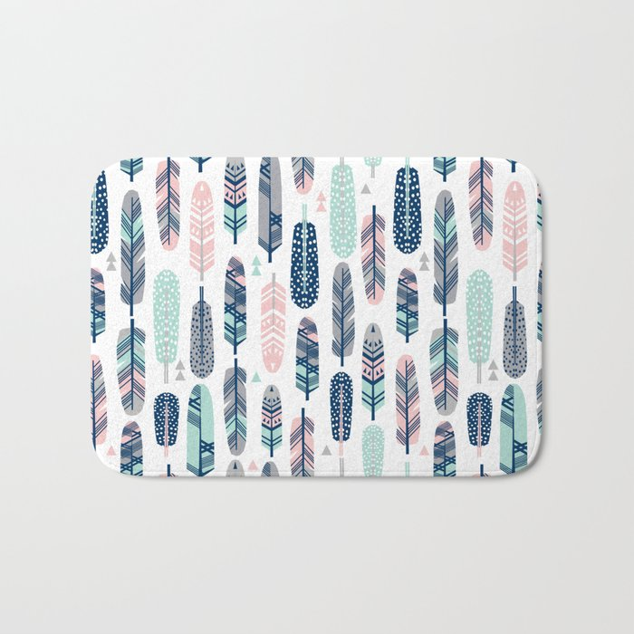 Feathers geometric trendy gender neutral colors modern feather and arrows pattern print dorm college Bath Mat