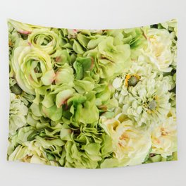 Green Flowers Wall Tapestry