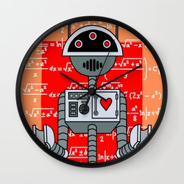 Nerdy Robot Print with math formulas in background Wall Clock