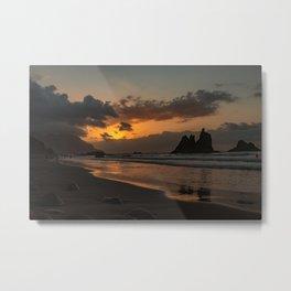 Sunset Beach in Golden Hour Metal Print
