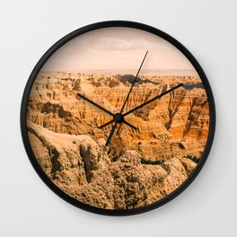 Sky Meets Rock-Badlands #3 Wall Clock