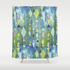 Geometric Slide in Cool Blue Shower Curtain