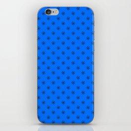 Black on Brandeis Blue Snowflakes iPhone Skin
