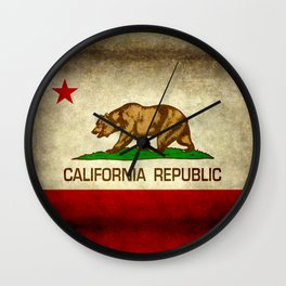 California Republic Retro Flag Wall Clock