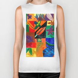 Colourful Plant Collage Biker Tank