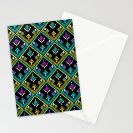 Abstract ethnic ornament. Black background . Stationery Cards