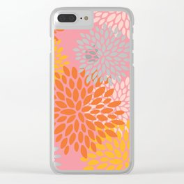 Summer Bright Floral Pattern, Pink, Yellow, Orange Clear iPhone Case