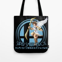 smash bros Tote Bags featuring Pit - Super Smash Bros. by Donkey Inferno