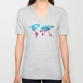 World Map Turquoise Pink Blue Green Unisex V-Neck