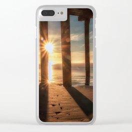 Through the Blinds sun bursts through Avila Pier Avila Beach California Clear iPhone Case