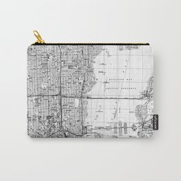 Miami Florida Map (1988) BW Carry-All Pouch