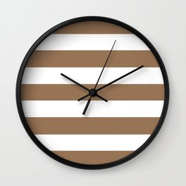 Liver chestnut - solid color - white stripes pattern Wall Clock