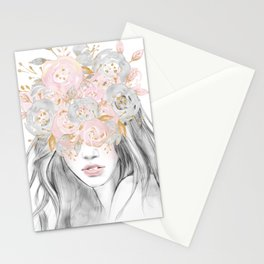 She Wore Flowers in Her Hair Rose Gold by Nature Magick Stationery Cards