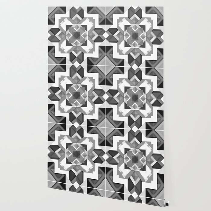 Black And White Geometric Geometry Mandala Diamond Square Pattern Graphic Wallpaper