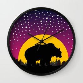Bear Stars Moon Wall Clock
