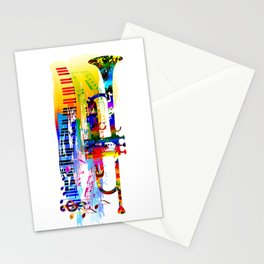 Abstract colorful music instrument painting.Trumpet, piano, musical notes, color splash, treble clef Stationery Cards