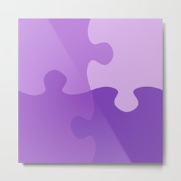 Pastel Ultra Violet Puzzle Pattern Jigsaw Pieces Metal Print