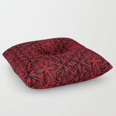 Black and red geometric flowers 5006 Floor Pillow