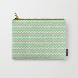 Pastel Green, Beige & Linen White Chevron Line Pattern Pairs to Noe Mint 2020 Color of the Year Carry-All Pouch