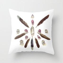 Amethyst Crystal Grid Throw Pillow