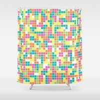 tetris Shower Curtains featuring Tetris by Alisa Galitsyna