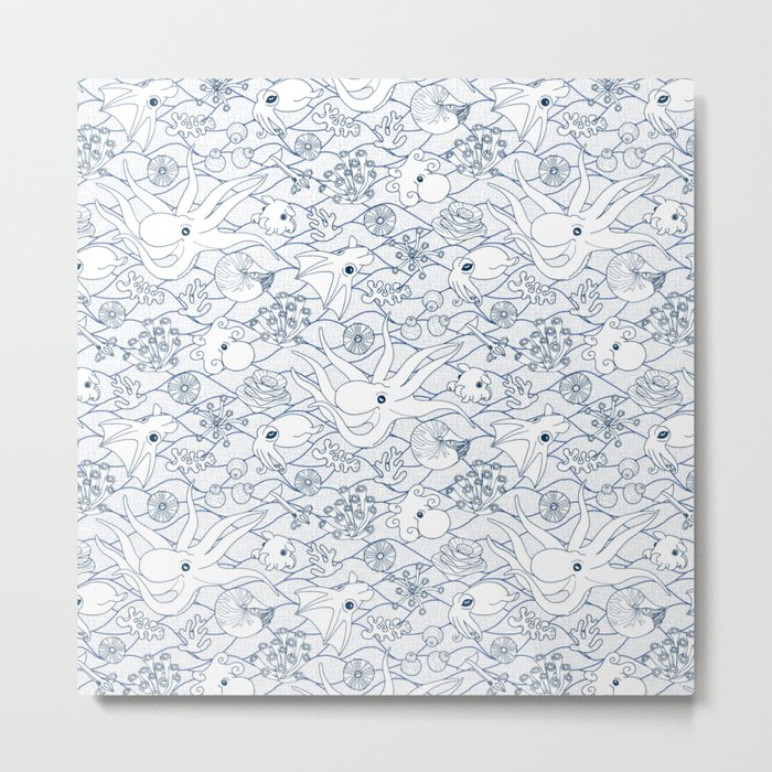 Cephalopods: White and Blue Metal Print